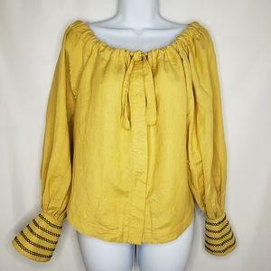 Vintage Jan Barboglio Yellow Linen Embroide Top 6